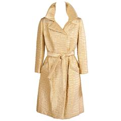 1960's Bonwit Teller Gold Lame Trench Coat
