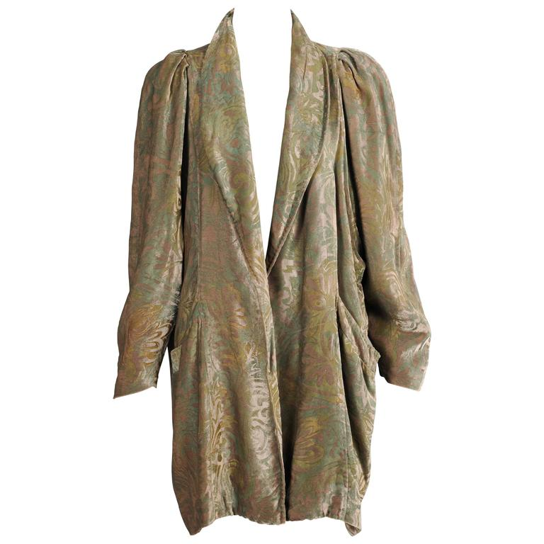 1920's Fortuny Style Stenciled Silk Velvet Evening Jacket