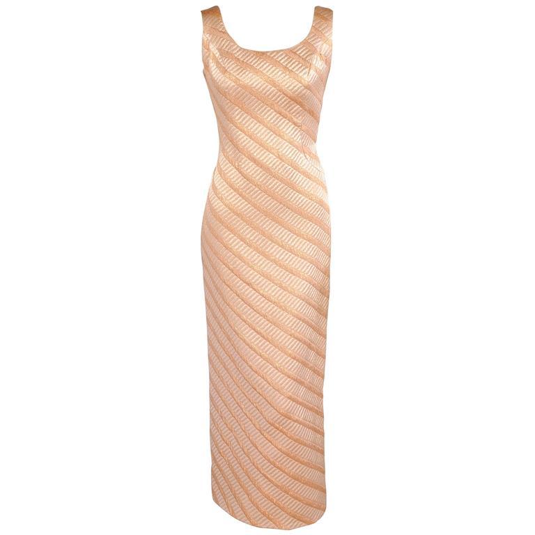 1960\'s Bonwit Teller Metallic Rose Gold Evening Dress with Matching ...