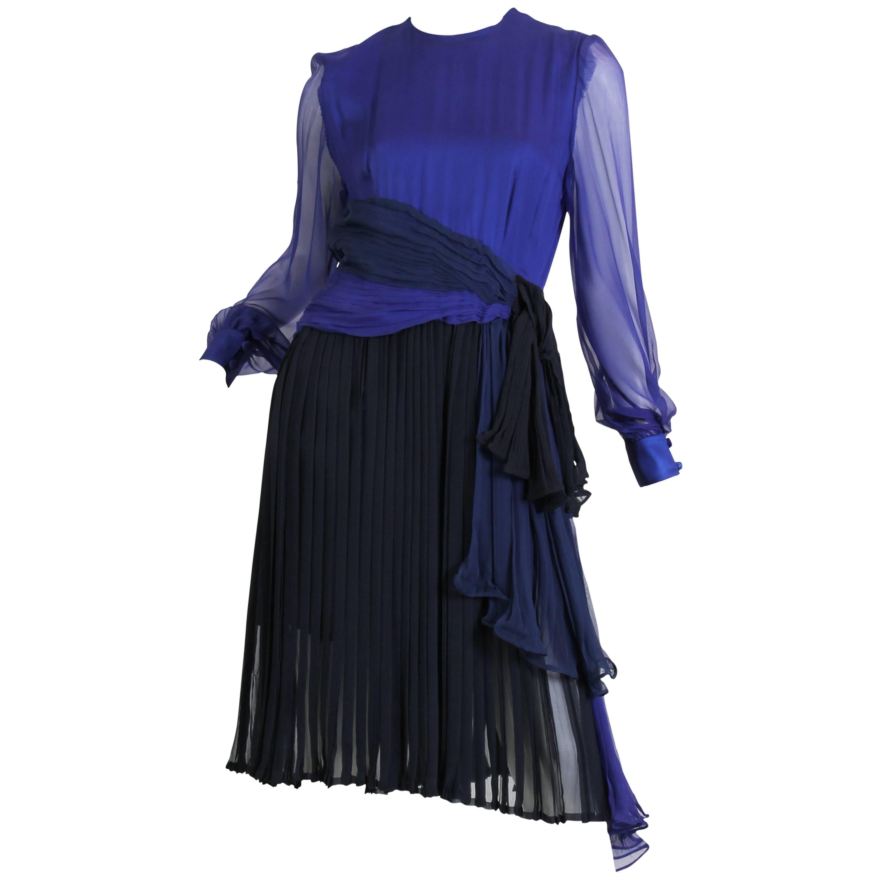 1980s ANDRE LAUG Haute Couture Silk Chiffon Cocktail Dress in Shades of Blues wi