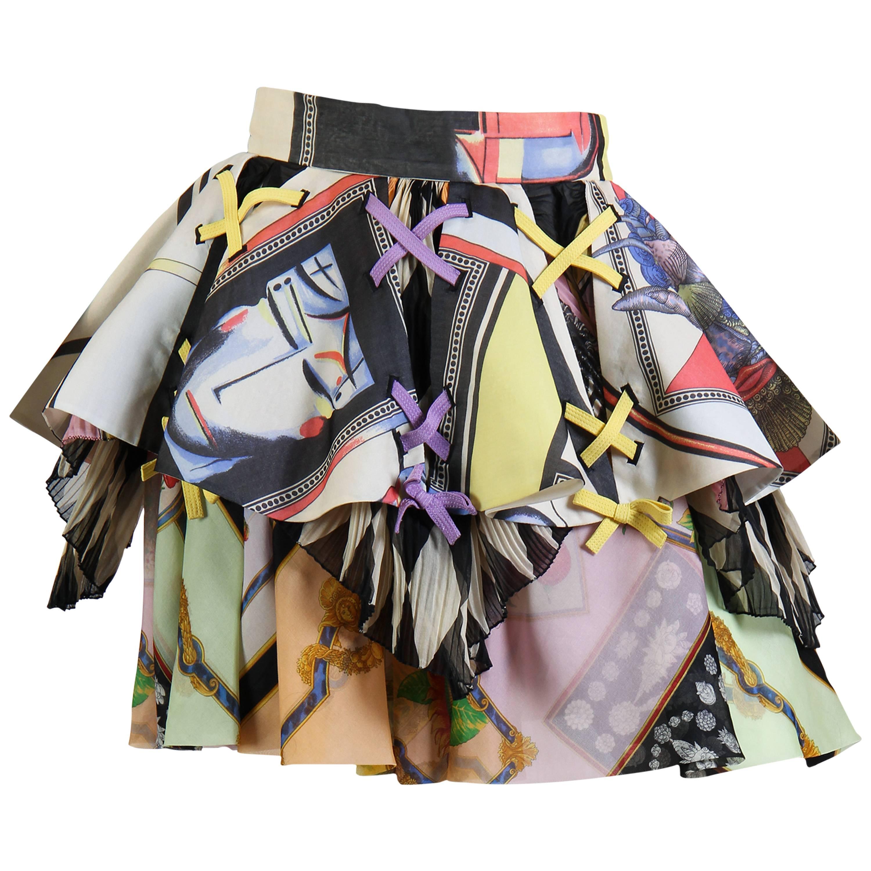 1990S GIANNI VERSACE Bright Multicolor Silk Organza Skirt Spring 1992