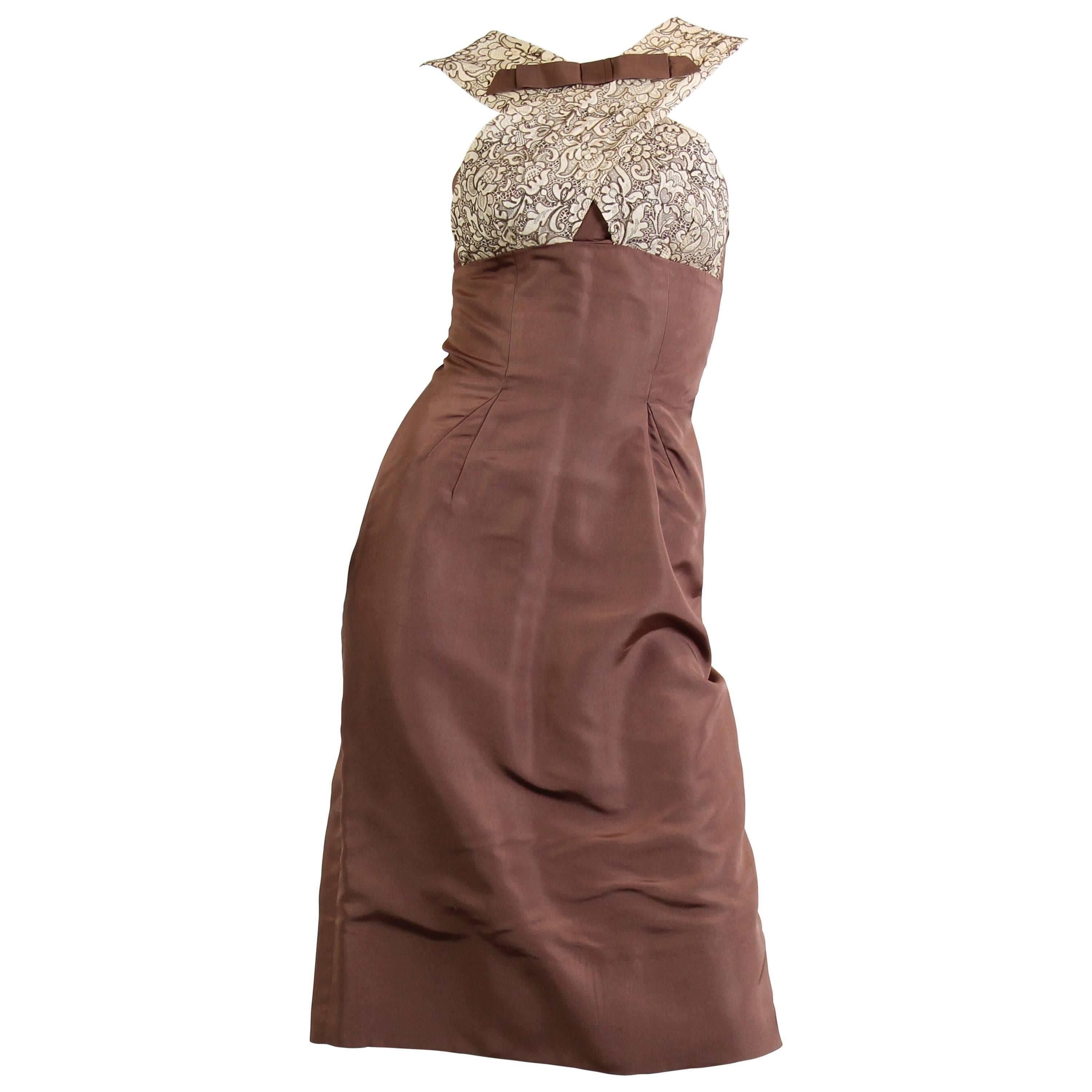 1950S OLEG CASSINI Chocolate Brown Silk Faille Jackie-O Style Dress With Lace B