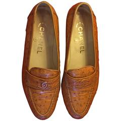 CHANEL CC Ostrich Skin Flats 1990's Size 35 1/2