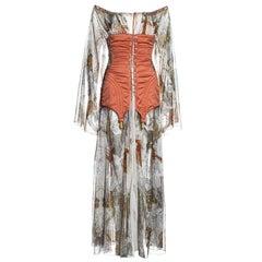 Jean Paul Gaultier zodiac print cotton muslin corset off shoulder dress, ss 1994