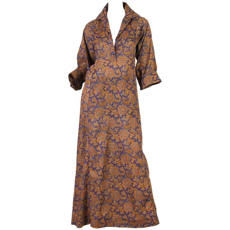 Early Yves Saint Laurent Cotton Kaftan Dress For Sale