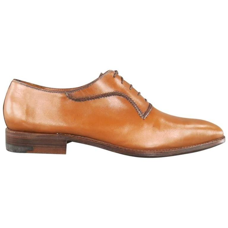 A.TESTONI Size 12 Caramel Leather Lace Up For Sale at 1stdibs