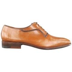 A.TESTONI Size 12 Caramel Leather Lace Up