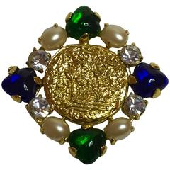 1990's CHANEL Gripoix, Pearl & Faceted Rhinestone BYZANTINE Goldtone Brooch Pin
