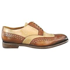 PRADA Size 8 Tan & Brown Two Tone Wing Top Brogue Leather Lace Up