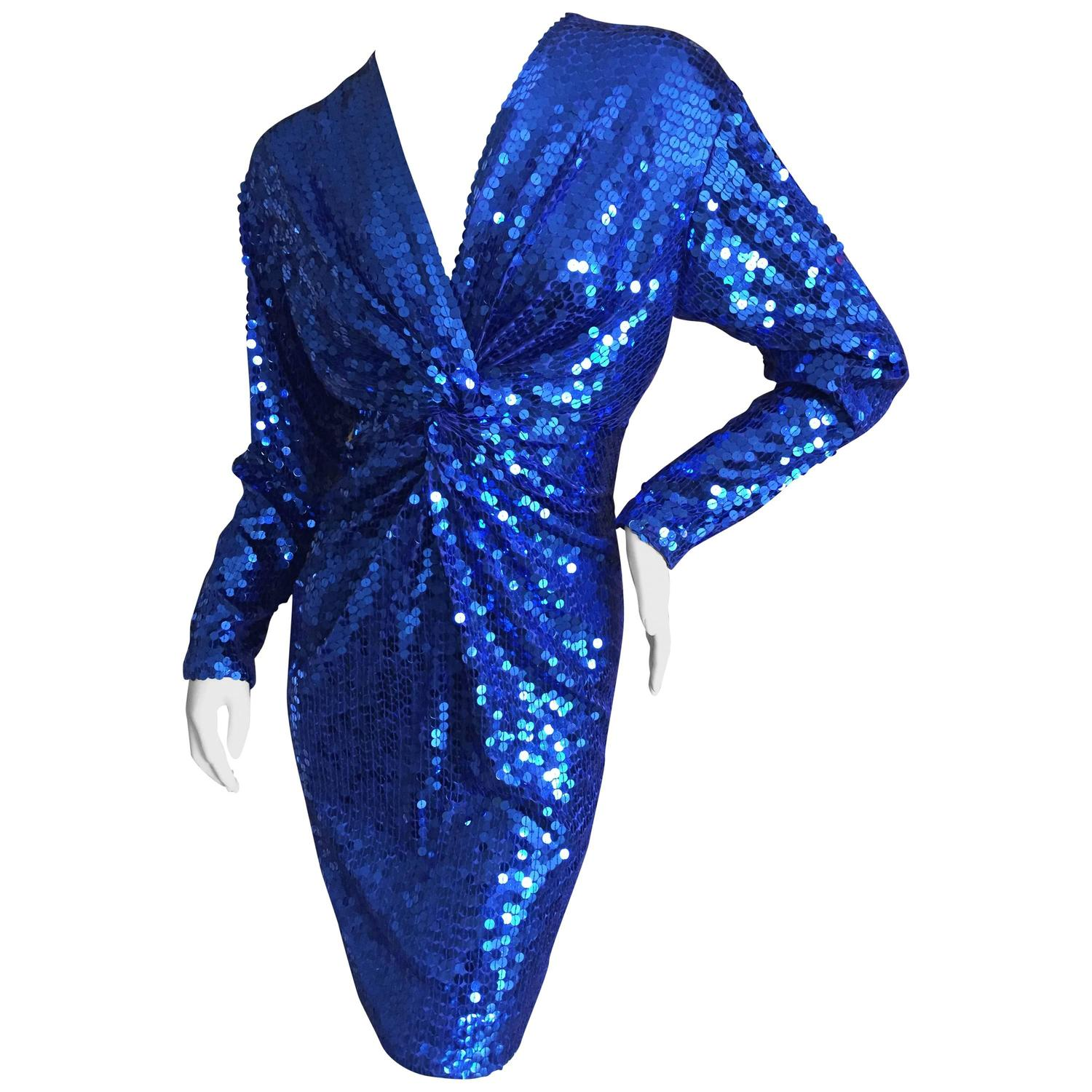 Oleg Cassini 1970's Sequin Disco Era Dress For Sale at 1stdibs