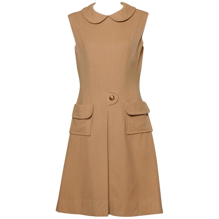 1960s Vintage Camel Wool Mod Dress with Peter Pan Collar and Kick Pleat 1