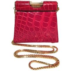 Escada Vintage Red Alligator Mini Evening Bag