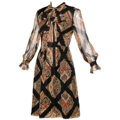 Oscar de la Renta Vintage 1960s Silk Print Dress with Ascot or Pussy Bow Tie