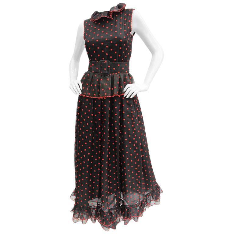 1970s Oscar de La Renta Silk Organza Polka Dot Gown
