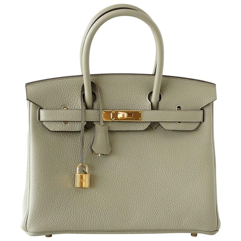 444d5a4764e2 Hermes Birkin 30 Bag Sage Clemence Gold Hardware For Sale at 1stdibs