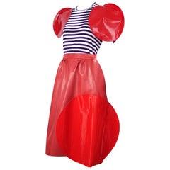2014 Junya Watanabe Comme des Garcons Striped Jersey Top & Vinyl Skirt Ensemble