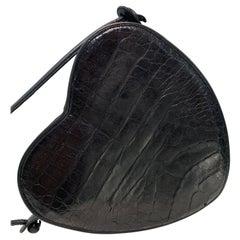 1980 I. Magnin Black Alligator Heart-Shaped Shoulder Bag w/ Leather Strap