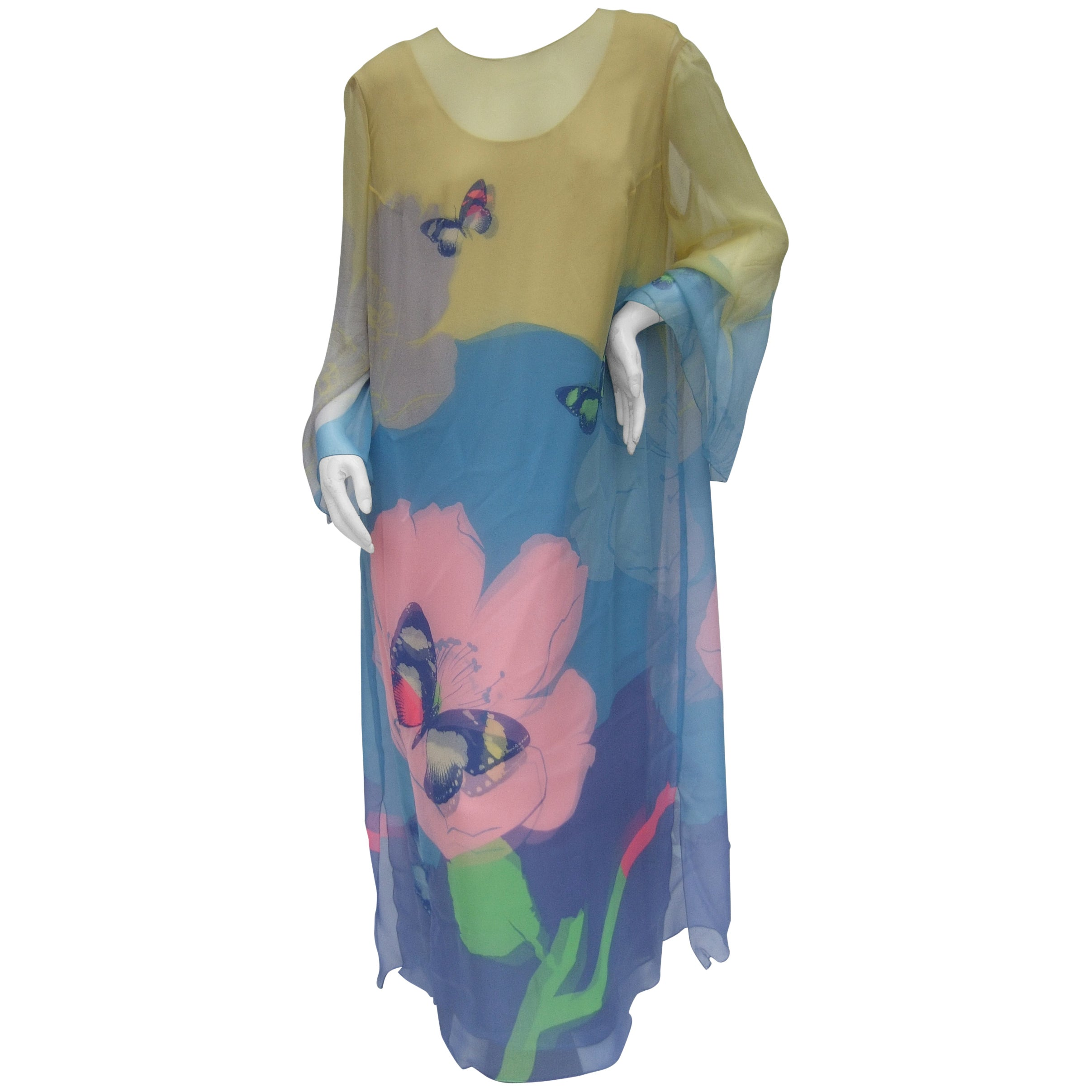 Ethereal Silk Chiffon Pastel Floral Butterfly Gown for Saks Fifth ...