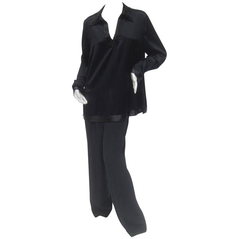 Jaeger Elegant Black Silk Charmeuse Tunic / Trouser Ensemble