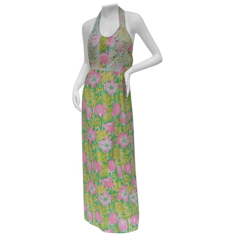 Lilly Pulitzer Vibrant Floral Print Halter Gown c 1970s