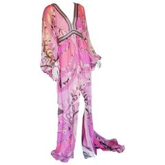 Emilio Pucci Embellished Silk Chiffon Maxi Dress Gown Size 38 New with Tags