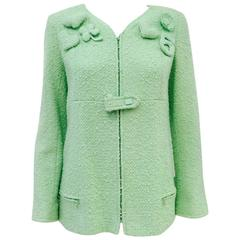 Chanel 2004 Cruise Mint Green Tweed Zippered Jacket W. Whimisical Appliques