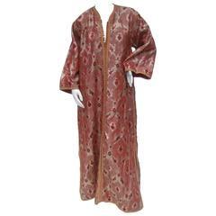 Exotic Metalllic Brocade Caftan Gown c 1970s