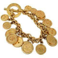 Celine Gold Coin Medallion Charm Chain Link Bangle Bracelet