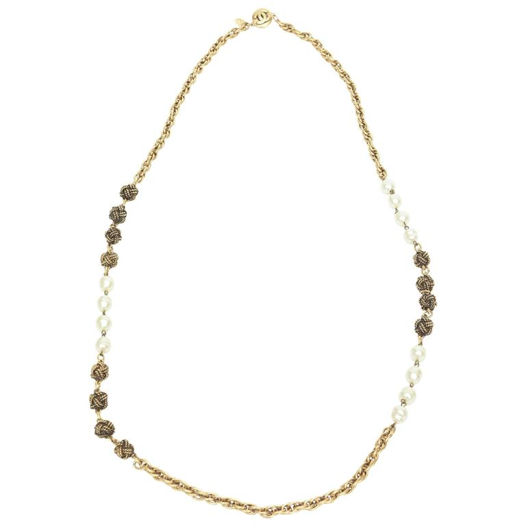 Signed Chanel Nacre Faux Pearl and Knot Long Necklace  1