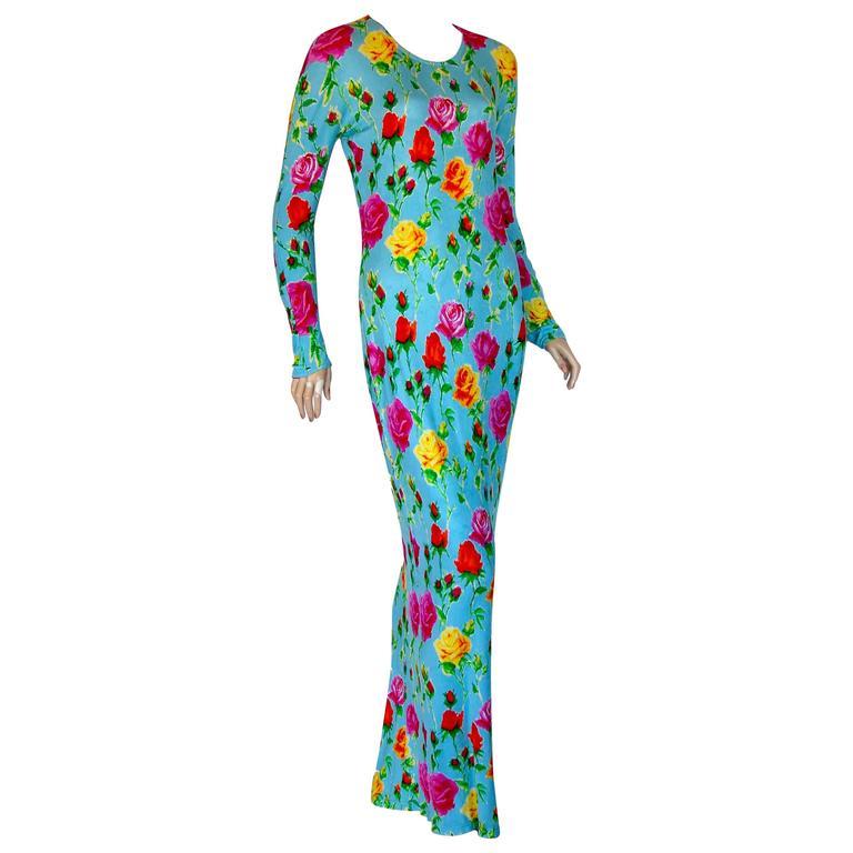Versace Couture Turquoise Floral Print Dress Long 1995 Sz 44 Rare 1