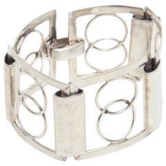 Italian Sterling Silver Modernist Geometric Open Link Cuff Bracelet