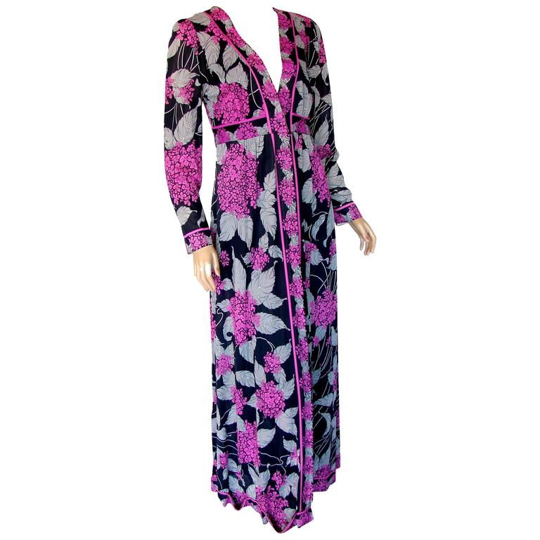 Emilio Pucci Abstract Floral Print Nightgown & Matching Robe 1970s
