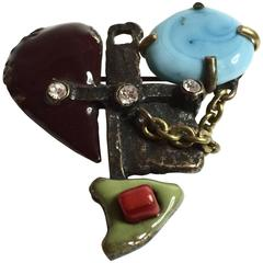 1990's CHRISTIAN LACROIX Bronzed metal Iconic Heart brooch with enamel stonework