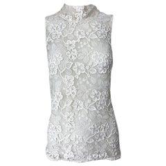 Vintage Yves Saint Laurent Rive Gauche 1990s White Belgium Lace Sheer Blouse Top