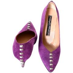 Maud Frizon 1980s Vintage Shoes Purple Suede Heels Studs Italy 37.5 7B