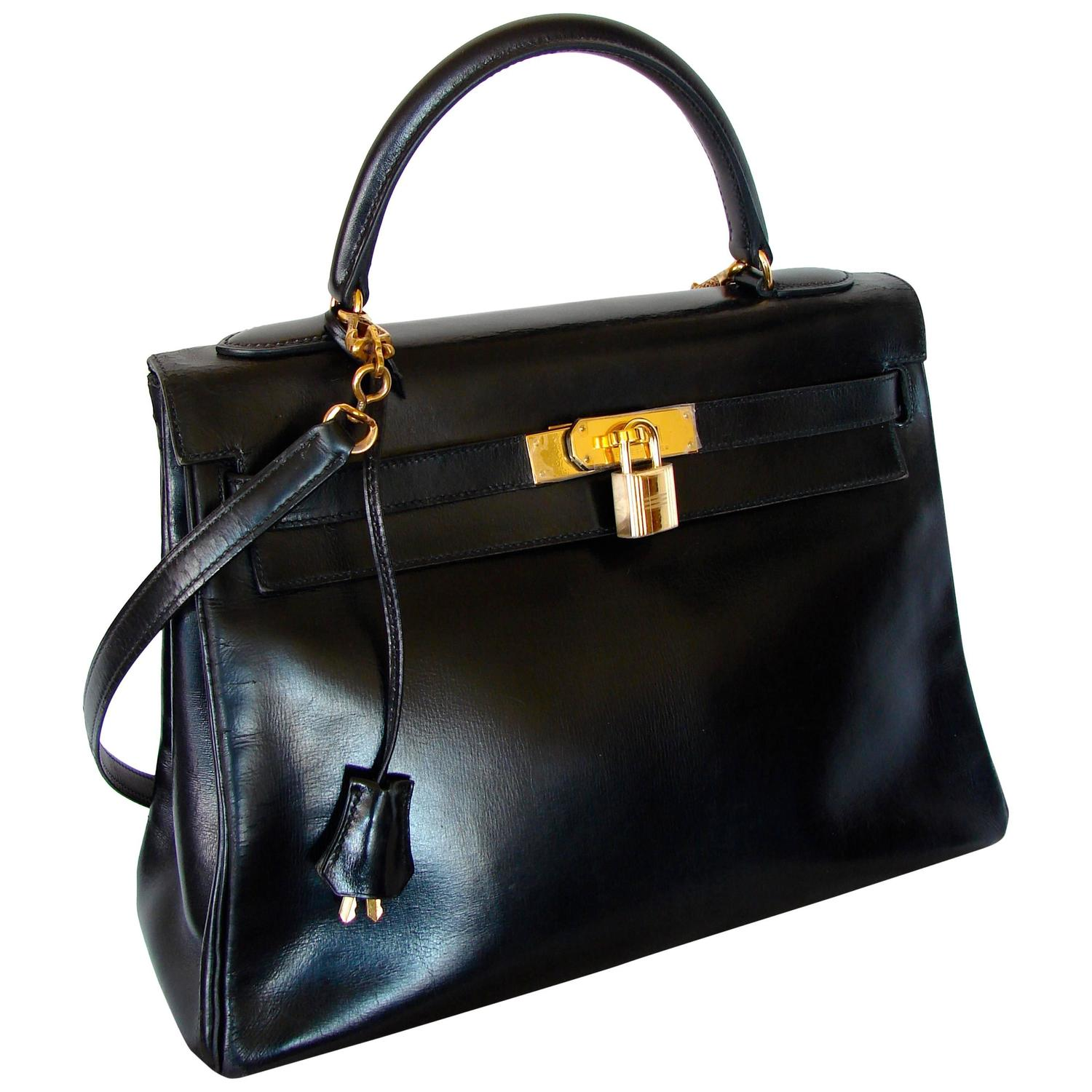 hermes hand bags - Hermes Kelly 32 Handbag Black Box Leather with Strap 1960s Bonwit ...