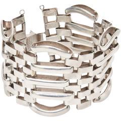 Sterling Silver Modernist Sculptural Cuff Bracelet