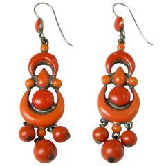 Original Victorian Coral Color Enameled Chandelier Earrings