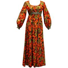 1960s  Miss Magnin for I.Imagnin Bohemian Maxi Dress