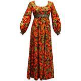 1960s  Miss Magnin for I.Imagnin Bohemian Maxi Dress