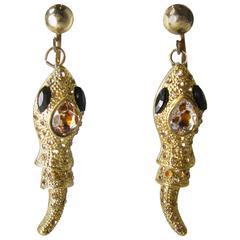 Golden Crystal Snake Clip Vintage Earrings