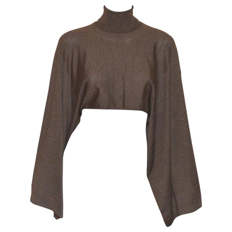 Hermes Cashmere Silk Knit Turtleneck Cropped Sweater Top 1