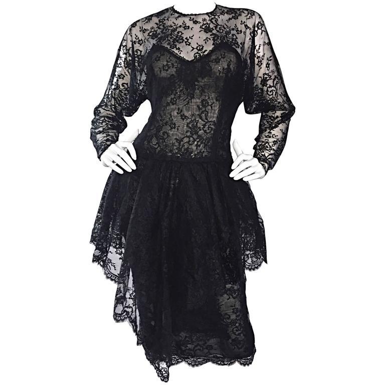 Incredible Vintage Oscar de la Renta Size 10 Black Silk Chantilly Lace 90s Dress