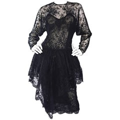 Incredible Vintage Oscar de la Renta Size 10 Black Silk Chantilly Lace 80s Dress