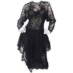Incredible Vintage Oscar de la Renta Black Silk Chantilly Lace Cocktail Dress