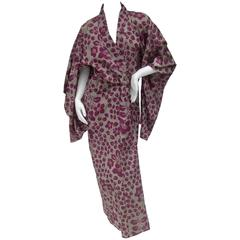 Japanese Style Flower Print Kimono Robe c 1970s