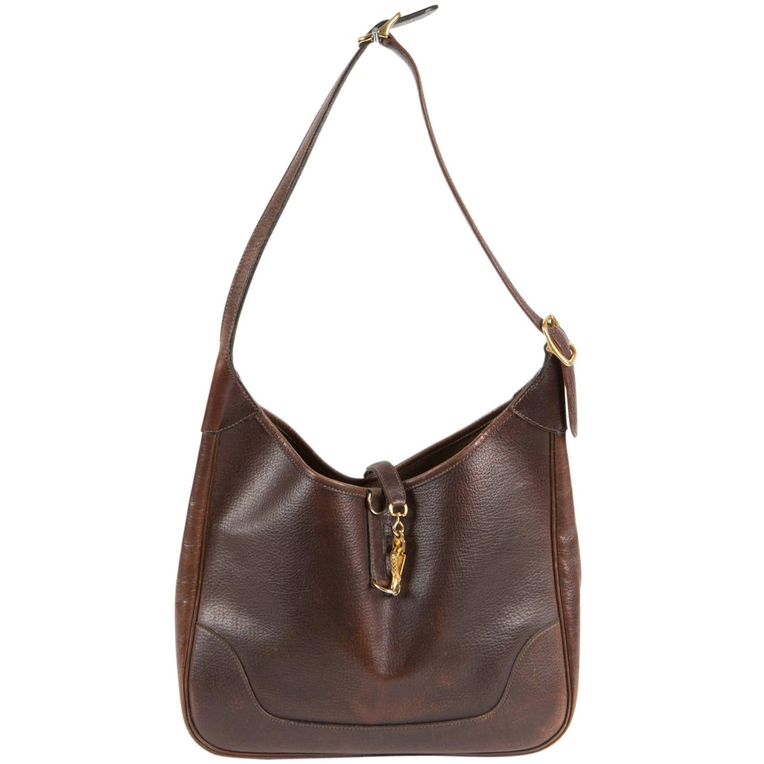 1970s Chocolate Hermes Trim Bag at 1stdibs