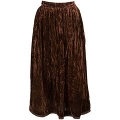 Rare Saint Laurent Brown Russian Collection Velveteen  Skirt