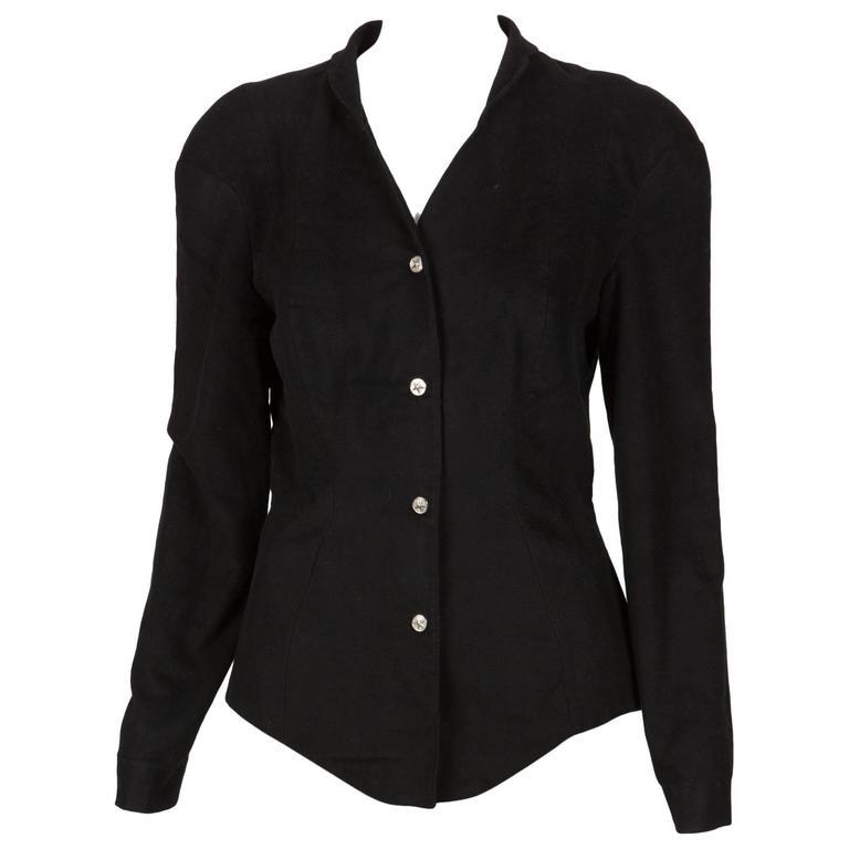 1980s Thierry Mugler Black Iconic Jacket