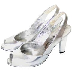 Charles Jourdan Silver Metallic Peep Toe Vintage Shoes France Size 7.5 B